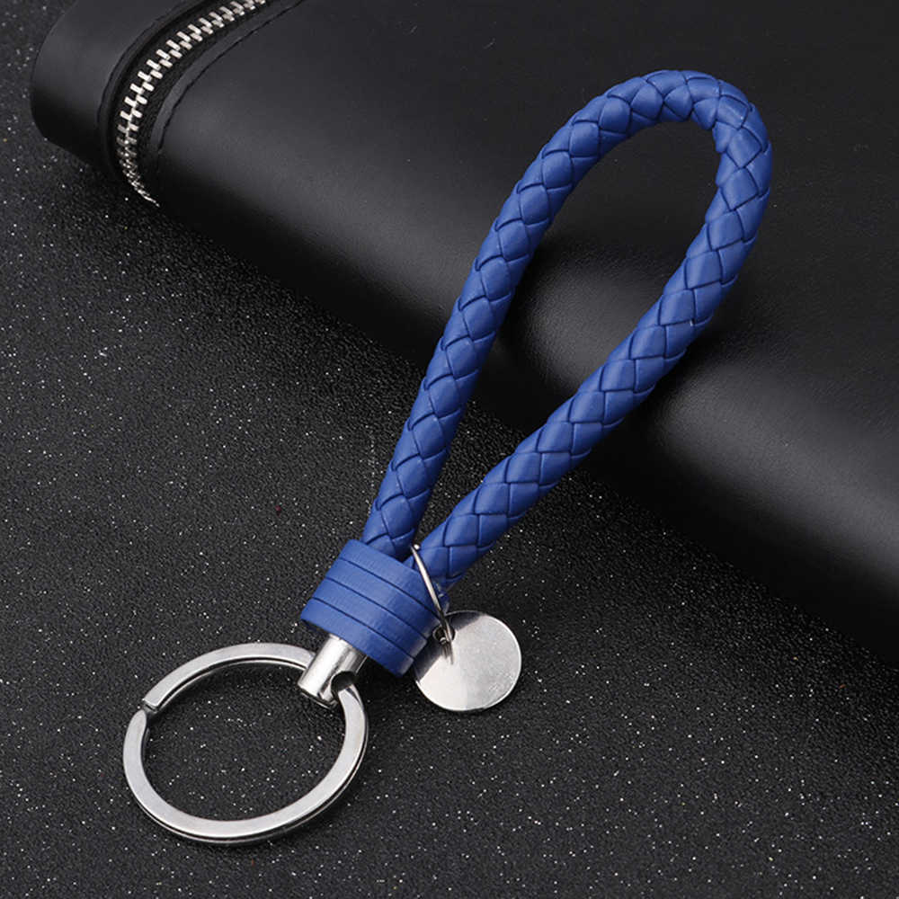 PU Leather Braided Woven Rope keychain DIY bag Pendant Key Chain Holder Car Keyrings Men Women Keychain