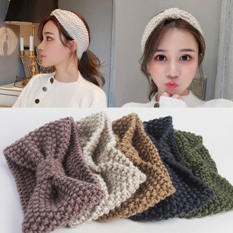 2019 Winter New Solid Wool Warm Crochet Bowknot Headband For Women Girls Knitting Headwraps Fashion Hairbands Hair Accessories