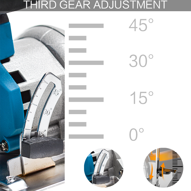 Tools : 125mm 10800RPM Cordless Electric Circular Wood Cutter 0 to 45 Adjustable Curved Cutting Sawing Machine for 18V Makita Battery