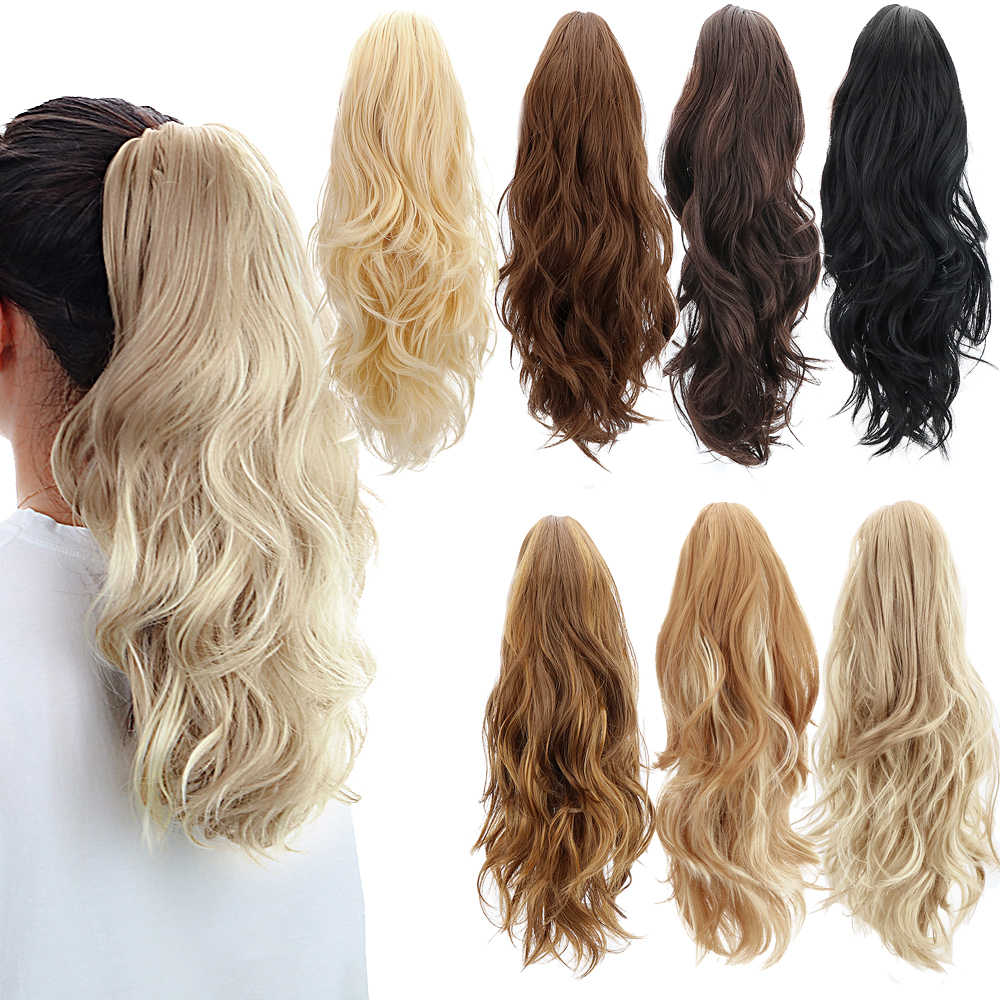 "Gratis Beauty 18 ""Synthetische Klauw Clip In Paardenstaart Hair Extensions Blond Lang Golvend Jaw Pony Tail Uitbreiding Koord Wrap rond"