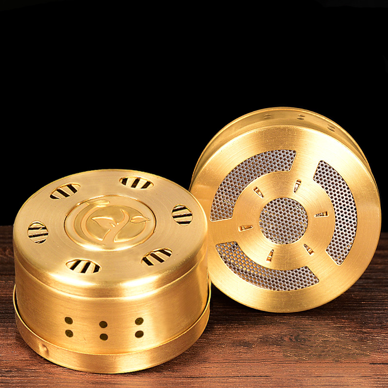 SHARE HO Copper Moxibustion Box High Quality Chinese Moxa Gold Heating Therapy Acupuncture Meridian Use With Moxa Bag