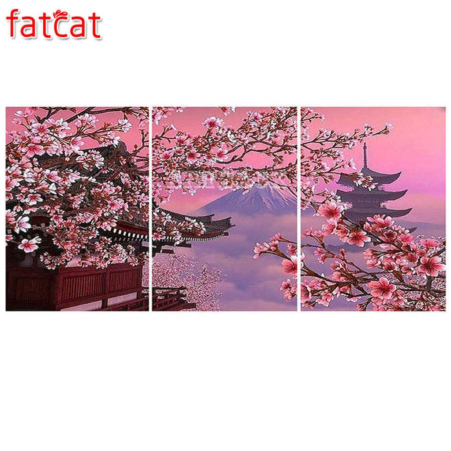fatcat peinture diamant theme fleurs de cerisier temple japonais broderie complete 5d perles rondes ou carrees pour decoration de maison diy