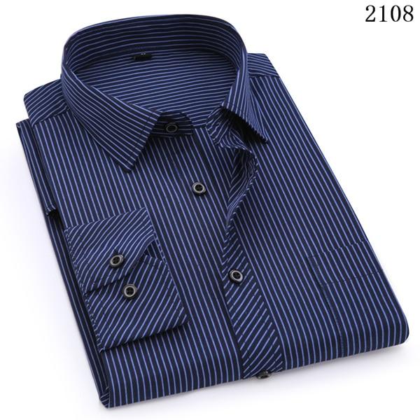 Plus Large Size 8XL 7XL 6XL 5XL Mens Business Casual Long Sleeved Shirt Classic White Black Dark Blue Male Social Dress Shirts 10