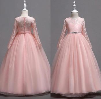 Long Sleeve Kids Flower Girl Dresses Princess Jewel Neck Long Sleeves Tulle Girls Pageant Dress Formal Wears for Wedding