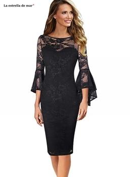 Vestido Madre De La Novia Full Lace Bell Sleeves Sheath Black Moeder Van De Bruid Jurken Tea Length Robe Mere De La Mariee Plus Buy At The Price Of 99 00 In