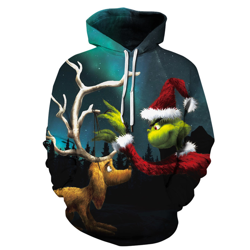 New Grinch 3D Printed Hoodies Men Sweatshirts Unisex Tracksuits Fashion Pullovers Streetwear Christmas Pullover Hoodie