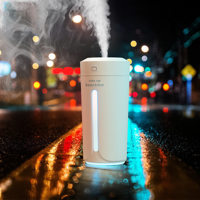 Mini Air Humidifier LED Cup Ultrasonic Humidifier Car USB Aroma Diffuser Portable Essential Oil Diffuser Air Mist Maker 230ML