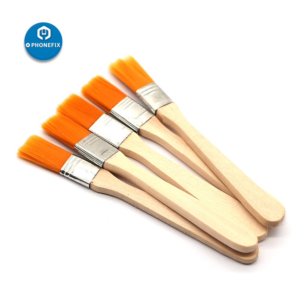 PHONEFIX 5Pcs Soft Cleaning Brush Computer Keyboard PC Dust Cleaner Wood Handle For Mobile Phone PCB Repair Electronics Tool Kit
