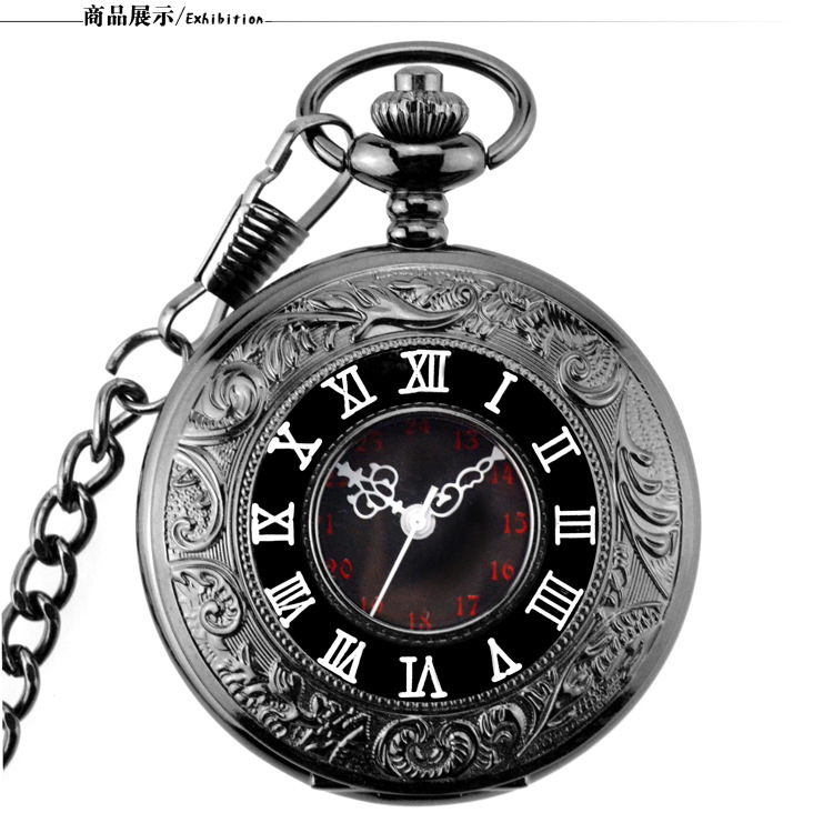 Vintage Fob Pocket Watch Roman Numerals Quartz Watch Clock With Chain Antique Jewelry Pendant Necklace Gifts Black