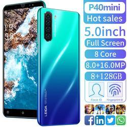 5.0Inch P40mini Android 9.1 Smartphone 8Gb Ram 128Gb Rom Snapdragon855 Netwerk 8 Core 4800Mah Dual Sim 4G Lte Global Telefoon Case