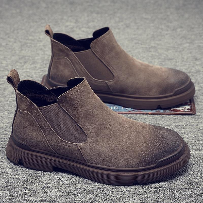 British style mens casual chelsea boots cow leather shoes slip-on outdoors desert boot platform ankle botas zapatos de hombre