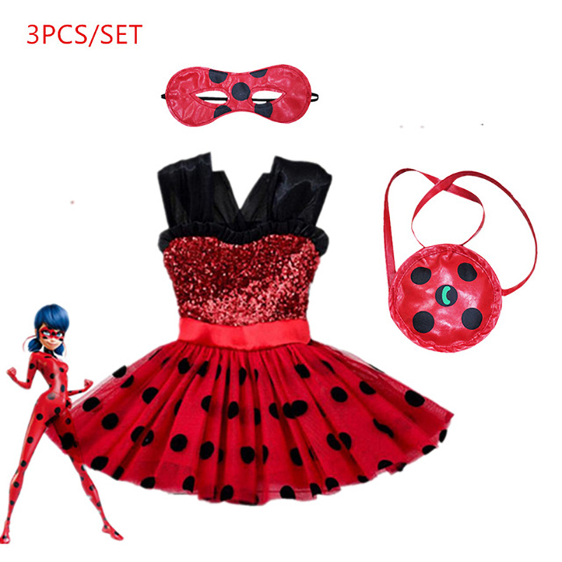 Carnival 2019 Ladybug Cosplay Girls Summer Dress Lady Clothes Bug Party Dress Children's Day Lace Dot Baby Girls Dresses
