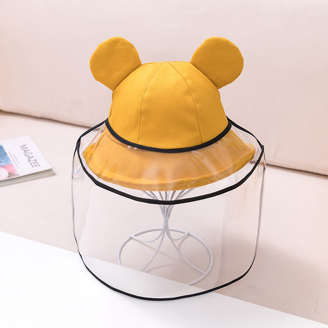 Dual-use Sun Hat Baby Kids Bucket Hat Cute Protective Face Shield Cover Mask Boys Girls Hats Anti Saliva Dustproof Fisherman Cap 2