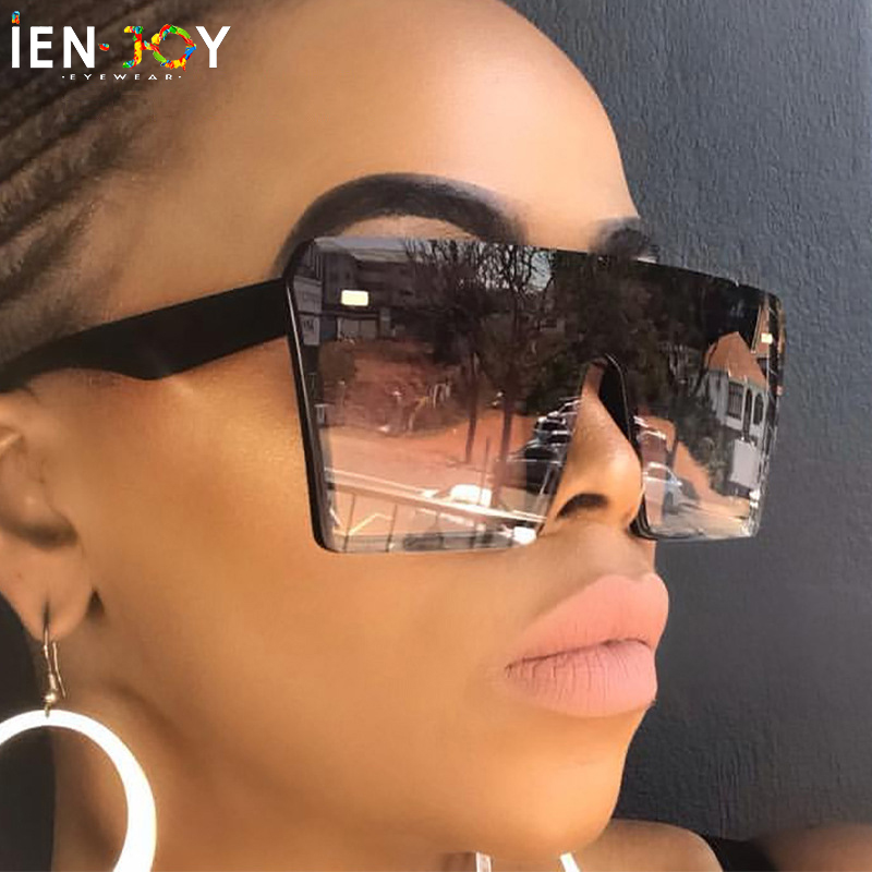 IENJOY 2020 Oversize Square Sunglasses Women Zonnebril Dames Fashion Flat Top Gradient Sun Glasses Men Large Frame Oculos