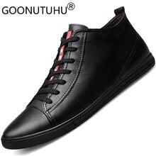 2019 new Men's shoes casual genuine leather male flats sneakers classic black big size shoe man  platform shoes for men hot sale цена в Москве и Питере