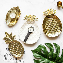 Gold-plated Dessert Plate Ceramic Jewelry Plate Craft Gifts Home Decoration Home Decoraciones Para El Hogar Домашние Украшения#