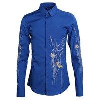 Fashion Floral Bird Embroidery Shirt Men Camisa Hombre 2019 Luxury Brand Cotton Shirt Mens Business Wedding Tuxedo Dress Shirts