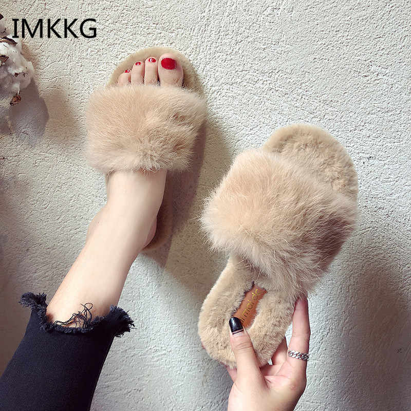 Home Slippers Ladies Fur Warm Slides Indoor Soft Casual Shoes Winter Accessories