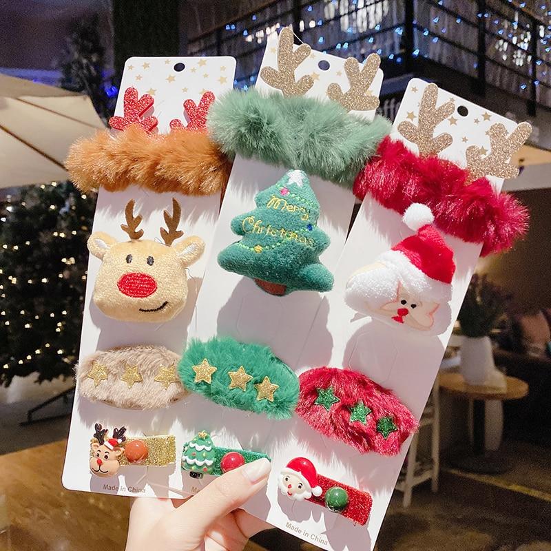 Комплект из 1 4 предметов, милая Рождественская заколка для волос, блестящая заколка Санта Клауса, детский головной убор, эластичная веревка, вечерние аксессуары для волос для девочек Аксессуары для волос для девочек    АлиЭкспресс