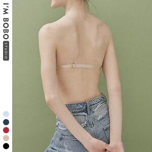 Image 2 - IMBOBO Japanese Style Strapless Bra Half Cup Invisible Underwear Sexy Push Up Bra Off the shoulder dress Underwear Anti skid bra
