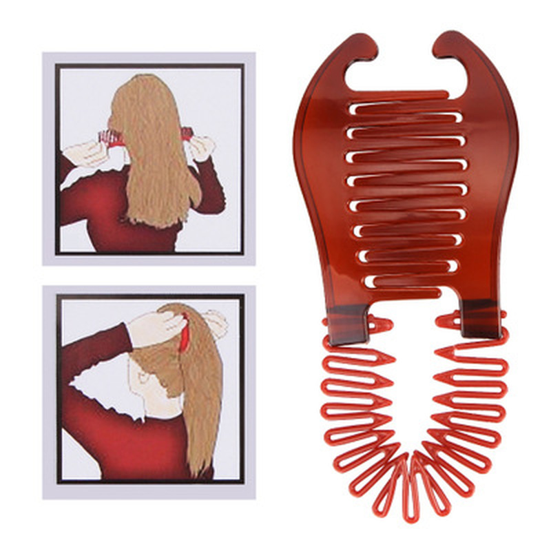 Interlocking Combs Hairclip French Side Combs Holder Vintage Style Bendable Plastic Updo Hair Clip Elastics Ties