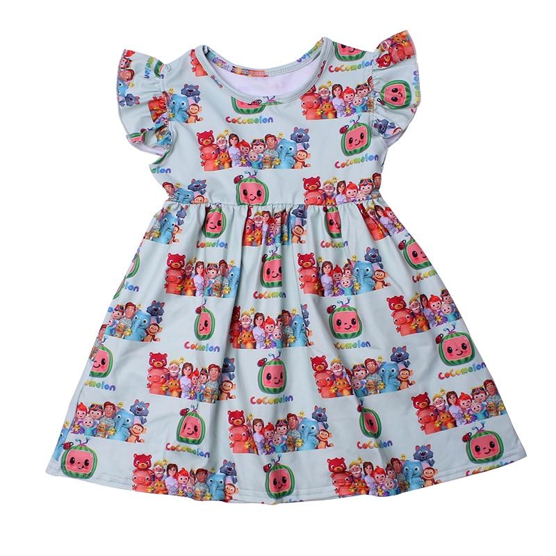 Princess Dress For Girls Flutter Sleeve Dress Cartoon Cocomelon Baby Girl Clothes Milk Silk Casual Toddler Girl Summer Dress 4