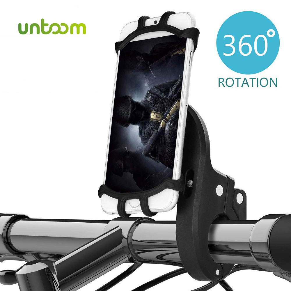 Untoom Bike Phone Holder 360 Degree Rotatable Silicone Motorcycle Scooter Phone Mount Bicycle GPS Units Holder For IPhone Xiaomi
