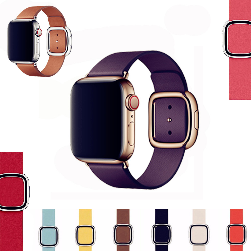 Pulseira de couro genuíno para apple watch band 4 (iwatch 5) 44mm 40mm apple watch 3 2 1 cinta 42mm 38mm moderno fivela bandas