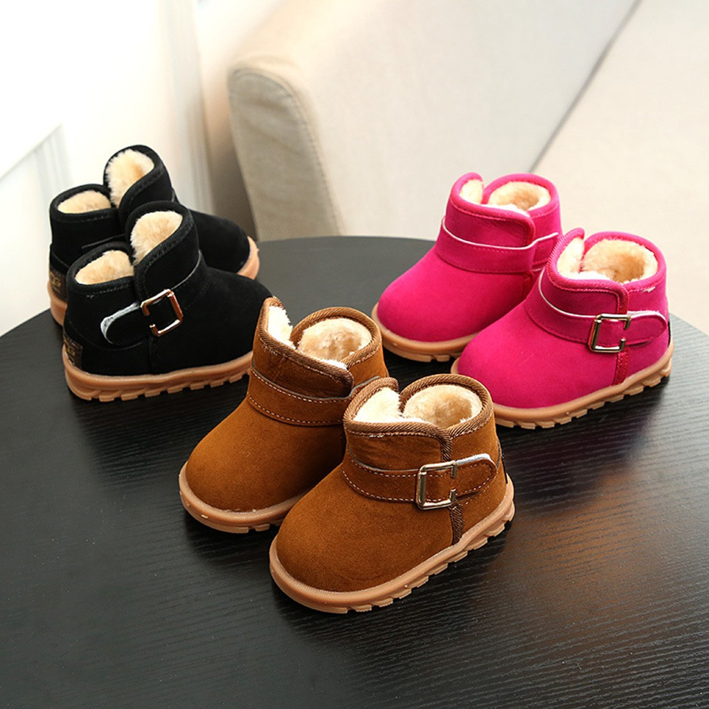 Fashion Infant Toddler Baby Girls Boys Casual Snow Boots Buckle Ankle Shoes Snow Boots Soft Sole Slip-On Princess Shoes ботинки