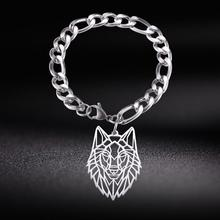 Man Bracelet Jewelry Wolf Stainless-Steel Silver-Color Animal Pendant Figaro-Chain Gift