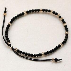 Image 5 - Pedra natural pequenos grânulos pulseiras para mulheres preto ônix artesanal yoga cura equilíbrio 925 prata oração reiki pulseiras finas