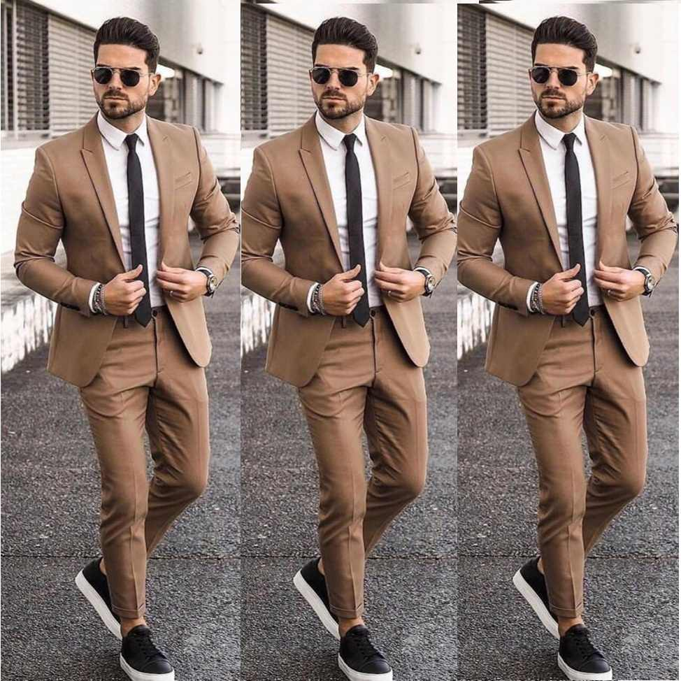 Elegante Goedkope Kaki Mannen Pak Blazers Voor Party Prom 2 Pieces Jas + Broek Bruidegom Wedding Suits Notched Revers Mens tuxedos