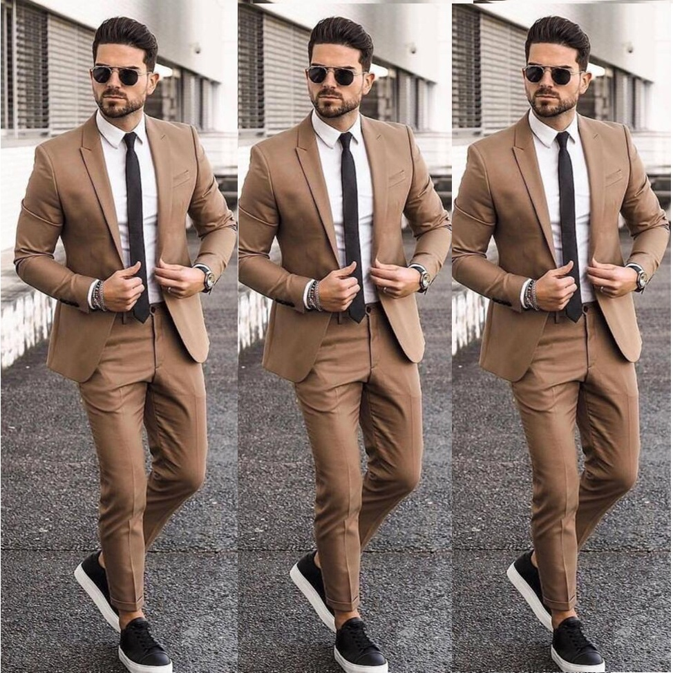 Elegant Cheap Khaki Men Suit Blazers For Party Prom 2 Pieces Jacket + Pants Groom Wedding Suits Notched Lapel Mens Tuxedos