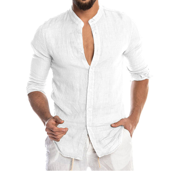 Men's New Summer Casual Cotton Linen Long Sleeve Button Down Shirt For Man Casual Shirts Cotton Shirts Dress Shirts Long Sleeve Men Print Shirts Shirts & Tops Slim Fit Summer Shirts T-Shirts Color: White Size: European Size M
