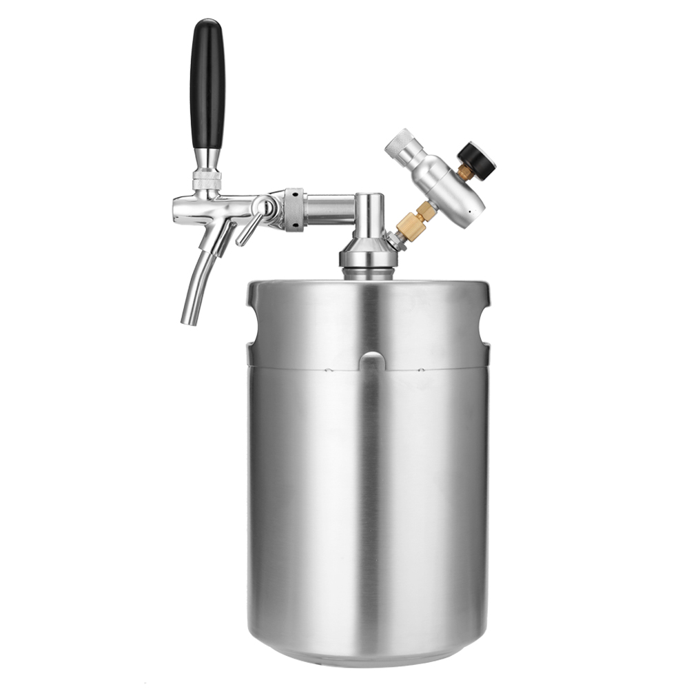 Stainless Steel Mini 5L/3L Beer KegWith Faucet Pressurized Growler Home Beer Brewing Craft Adjustable Tap and CO2 Injector image