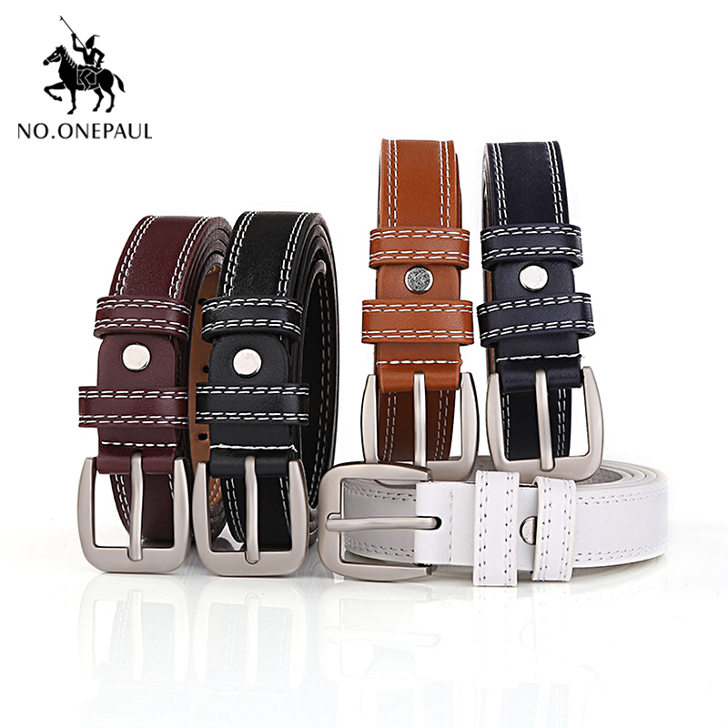 NO.ONEPAUL Genuine Leather Ladies Fashion Retro Thin Women's Belt, Designer Design Luxury Brand Belts With Trend Student Jeans