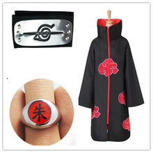 Set Naruto Akatsuki Cloak Cosplay Costume Uchiha Itachi Shuriken Forehead Headband Suits Accessories Halloween Cosplay S-XXL(China)