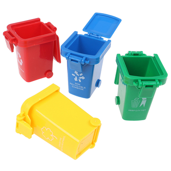 4pcs/set Mini Simulation Trash Can Toy Garbage Truck Cans Curbside Vehicle Bin Kid Furniture Toy Gift Red, Yellow, Green,blue недорого