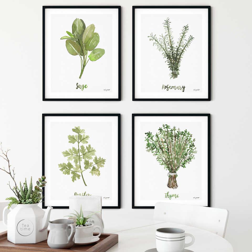 Suluboya Bitki Tuval Boyama Yesil Otlar Poster Botanik Baskilar