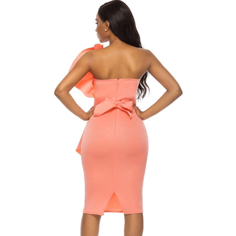 נשים חולצת סטרפלס שמלת Bodycon כבוי כתף ללא משענת ערב המפלגה סקסי ארוחת ערב Clubwear ליידי Slim טוניקת אלגנטי הדוק קיץ גלימות