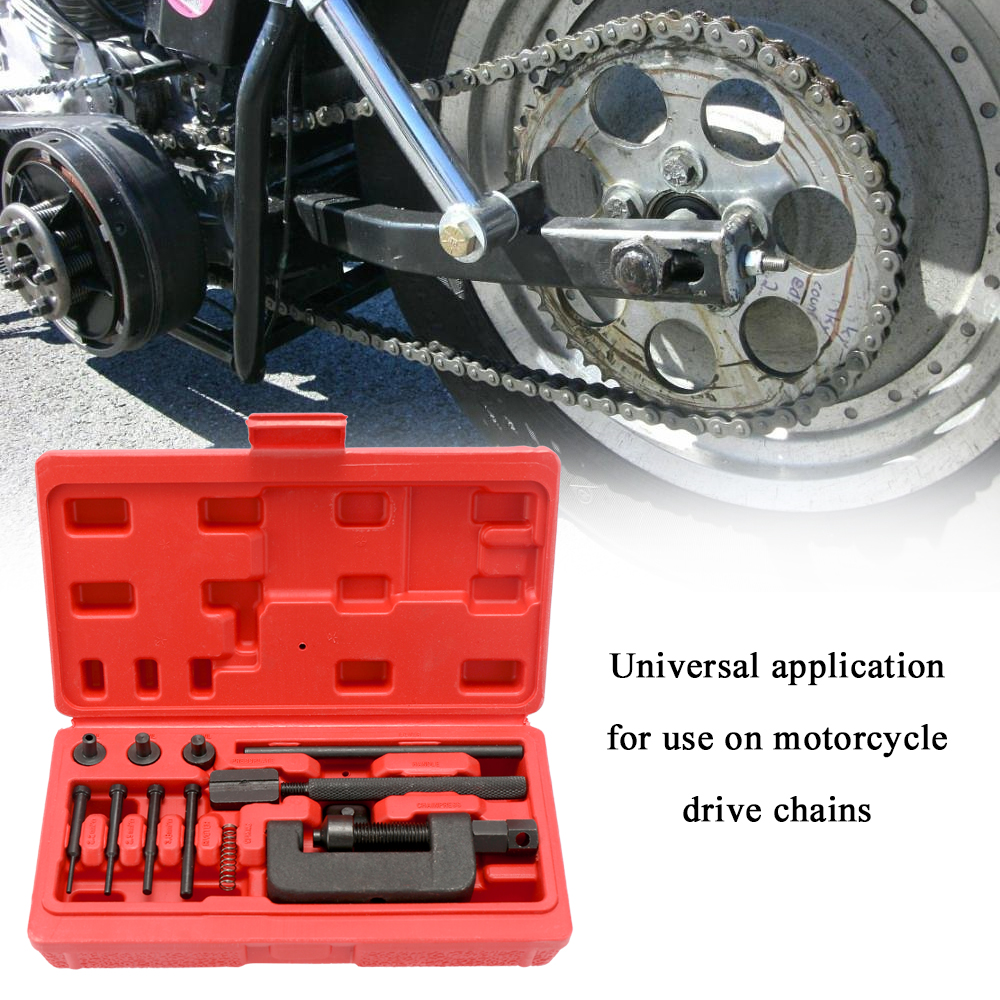 KKmoon Motorcycle Bike Chain Breaker Splitter Link Riveter Universal Bikes Riveting Tool Set Cycling Accessories with Carry Box
