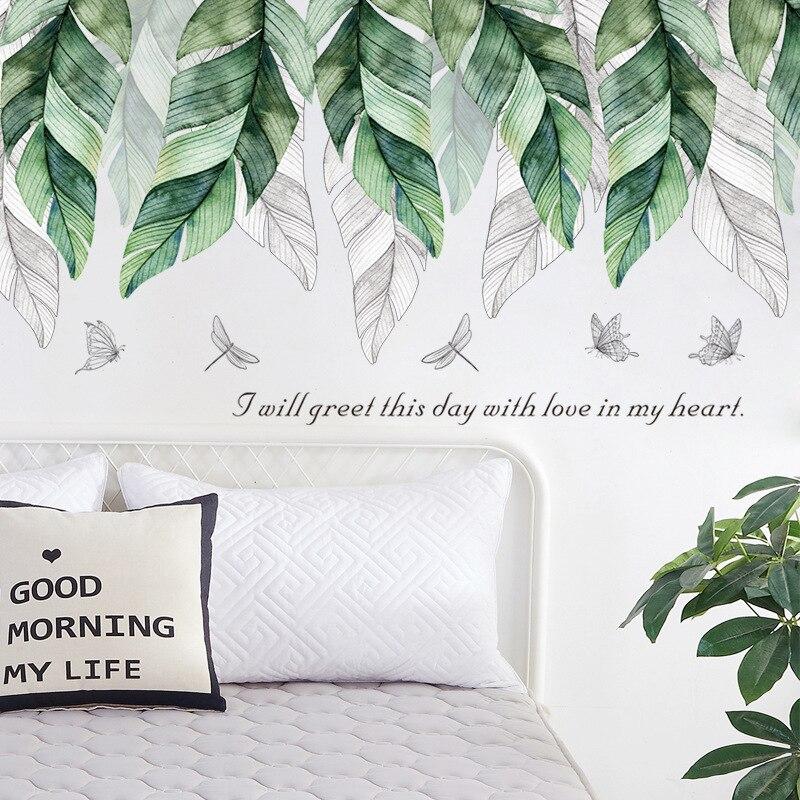 Grandes feuilles de banane Stickers muraux pour salon chambre entrée TV canapé fond amovible Stickers muraux peintures murales écologiques
