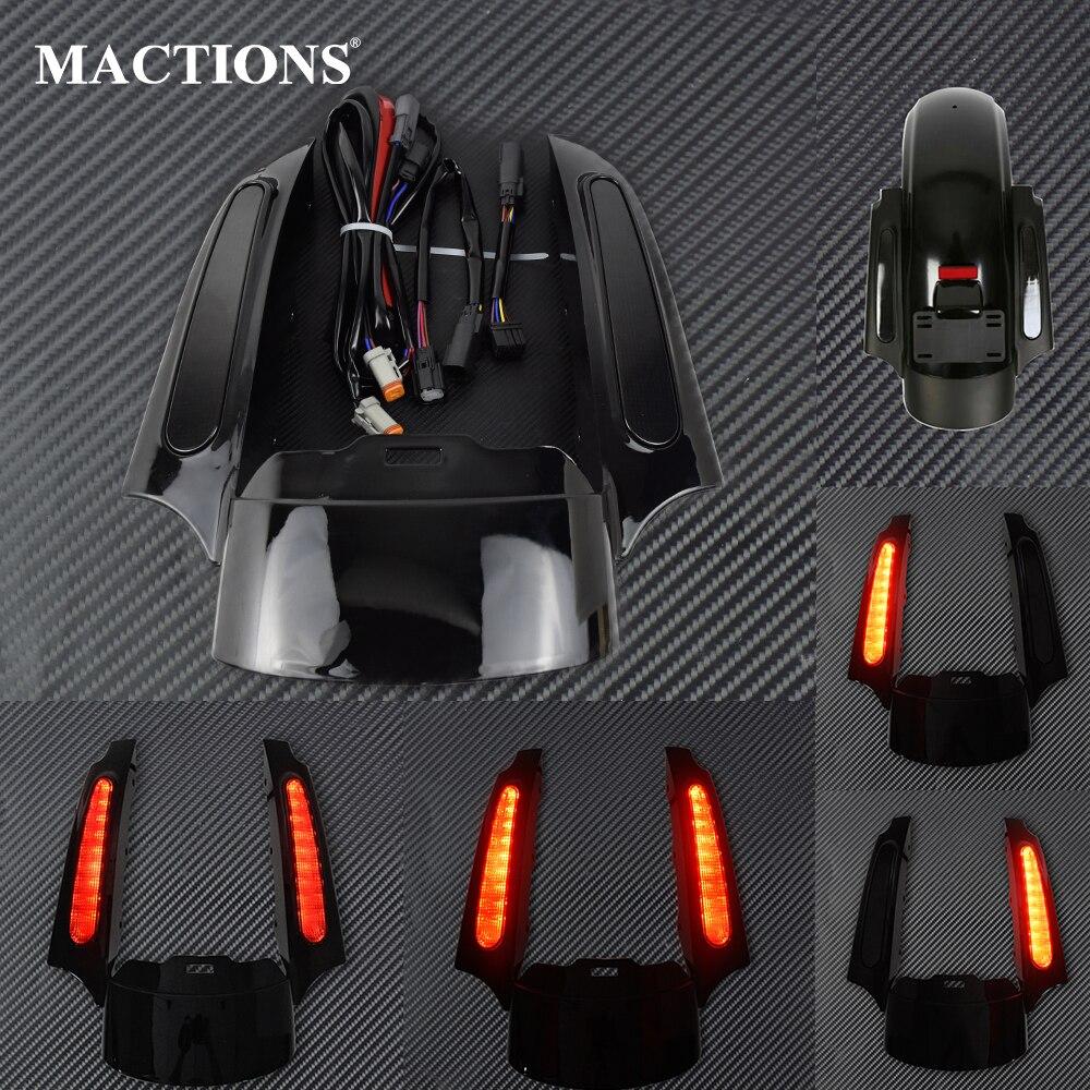 Motocicleta LED luz trasera guardabarros conjunto de fascia negro brillante para Harley Touring Electra Glide camino clásico King CVO deslizamiento callejero