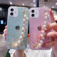 Glitter Perle Kette Handgelenk Telefon Fall Für Xiaomi Redmi Hinweis 10 Mi 11 9 9T 10T Lite Poco m3 X3 NFC X2 F2 Pro A3 A2 A1 6X 5X Abdeckung