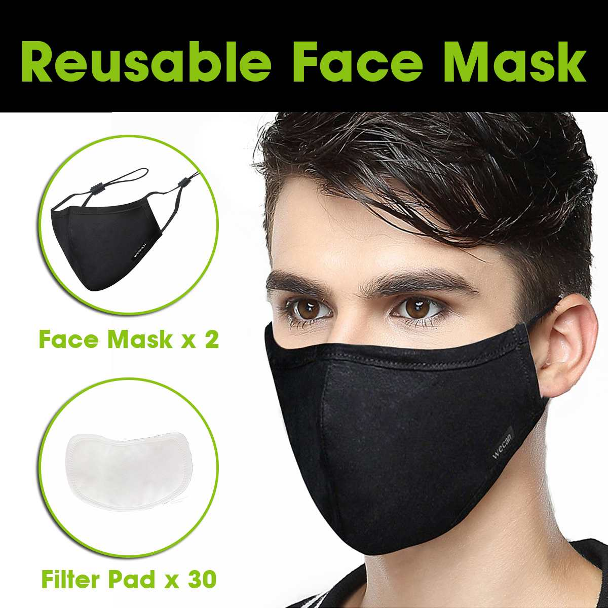 2x Reusable Anti-Dust Profession Disposable Mask With 30x Filter Elastic Mouth Breathable Flu Hygiene Face Ship With 24h