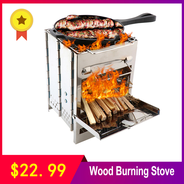 Folding Stainless Steel Backpacking Wood Burning Stove Mini BBQ Grill with Carry Bag for Backpacking Hiking Camping Cooking