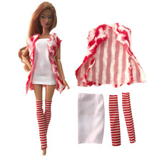 NK Un Set Giacca del Vestito Vestito di usura Quotidiana Freddo Giacca + Top + Calza Per La Bambola di Barbie Accessori Regalo 149A(China)