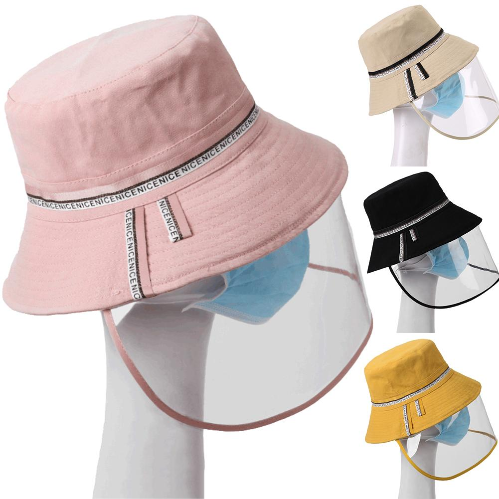 Letters Print Anti Saliva UV Removable Face Shied Wide Brim Bucket Hat Sunhat Anti Droplet Full Face Cover Mask Visor Shield