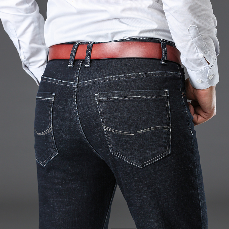 2020   Denim Pants Black Blue Male Trousers Classic Style Men's Thick Business Stretch Jeans Autumn Winter New Brand Straight