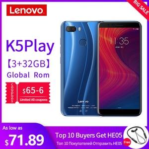 Мобильный телефон lenovo с глобальной версией, 3 ГБ, 32 ГБ, K5 Play, Face ID, 4G, смартфон, 5,7 дюймов, Восьмиядерный процессор Snapdragon, задняя камера 13 МП, 2 МП